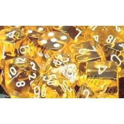 RPG Dice Translucent Polyhedral 7 Yellow