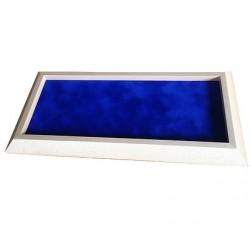 Würfelbrett Holz hell kantig blau (36 x 18 cm)