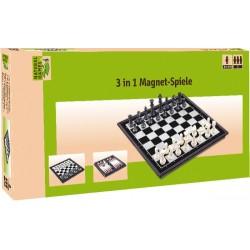 NG Magentspiele 3 in 1 Dame Schach und Backgammon