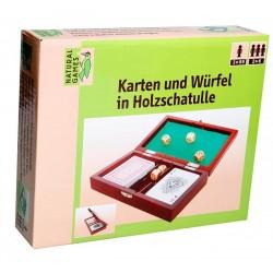 NG Karten und Würfel in Holzschatulle