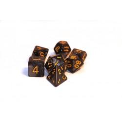 Würfelset Pearl schwarz Gold (7)