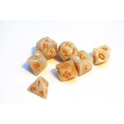 Würfelset Pearl Weiss Gold (7)