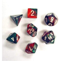 Polyhedral 7 Die Gemini Dice Set Green Red with White
