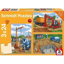 Puzzle Auf der Baustelle 3x24T