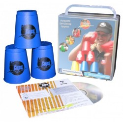 Speed Stacking: FlashCups (12 Stk., Blau) mit Lunchbox+DVD