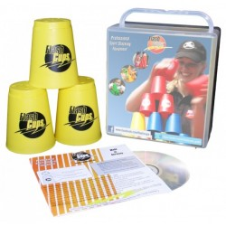 Speed Stacking: FlashCups (12 Stk., gelb) mit Lunchbox+DVD