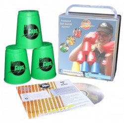 Speed Stacking: FlashCups (12 Stk., grün) mit Lunchbox+DVD
