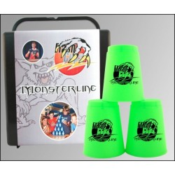 Speed Stacking: FlashCups (12Stk. Neongrün) mit Lunchbox+DVD