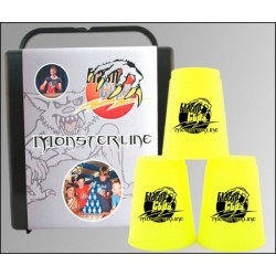 Speed Stacking: FlashCups (12Stk. Neongelb) mit Lunchbox+DVD