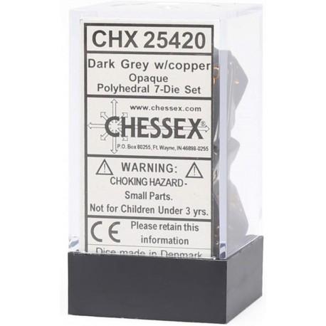 CHX25420 Dice Set7 Dark Grey copper Opaque