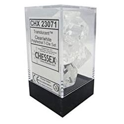 Clear white Translucent Polyhedral 7 Die Sets CHX23071