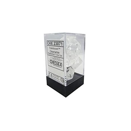 CHX23071 Clear w/white Translucent Polyhedral 7-Die Sets