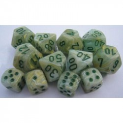 CHX27809 Marble Green wdark green Signature 12mm d6 with pips Dice Blocks 36 Dice