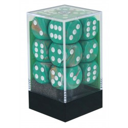 CHX27603 Marble Oxi Copper white 16mm d6 with pips Dice Blocks 12 Dice