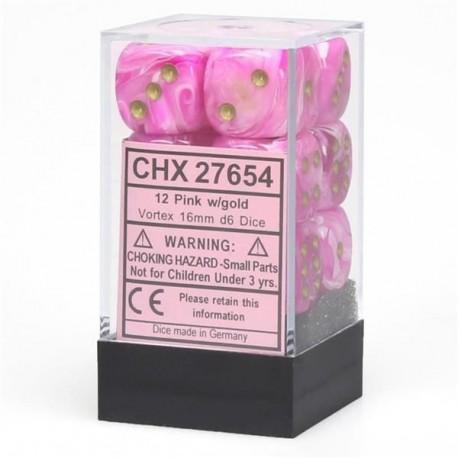 CHX27654 Vortex Pink wgold Signatur 16mm d6 with pips Dice Blocks (12 Dice)