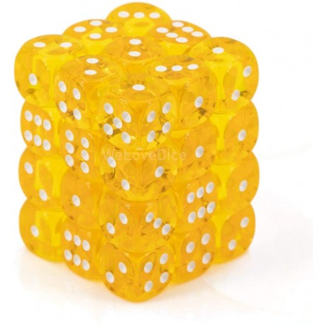 CHX23802 Yellow wwhite Translucent 12mm d6 with pips Dice Blocks (36 Dice)