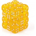 Chessex 23802 Yellow wwhite Translucent 12mm d6 with pips Dice Blocks 36 Dice