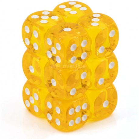 CHX23602 Yellow wwhite Translucent 16mm d6 with pips Dice Blocks (12 Dice)