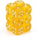 Chessex 23602 Yellow wwhite Translucent 16mm d6 with pips Dice Blocks 12 Dice