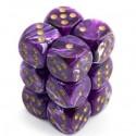 Chessex 27637 Vortex Purple gold Signature 16mm d6 with pips Dice Blocks