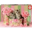 Puzzle Kätzchen und Rosen 500T