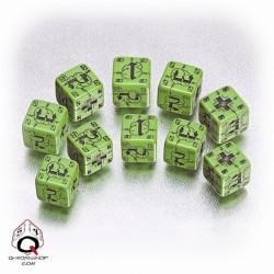 Axis & Allis Battle d6 German Dice Green Black
